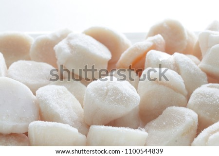 Frozen stock ingredient, Japanese scallop from Hokkaido prefecture