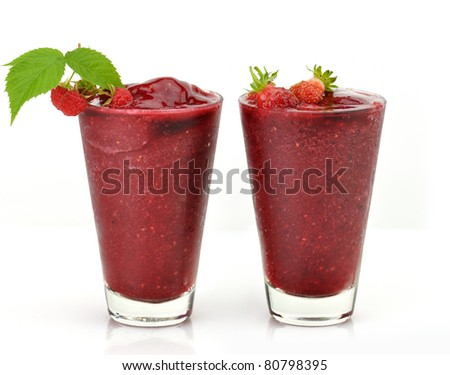 Frozen strawberry and raspberry smoothie with fresh  berries
