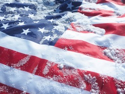 Frozen USA flag. Global climate change concept.