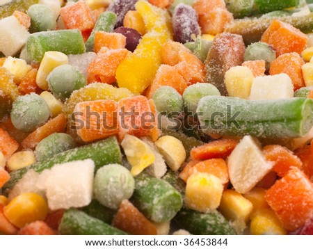 Frozen various vegetables as background