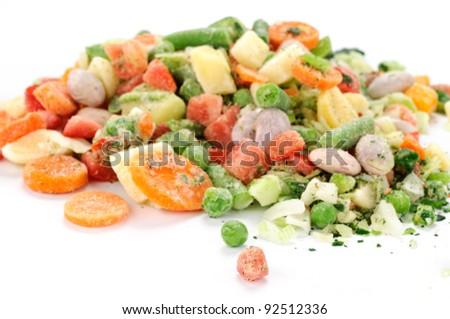 Frozen vegetables for soup