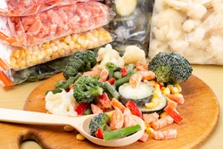 Frozen vegetables in bags, cold healthy diet food,  natural.