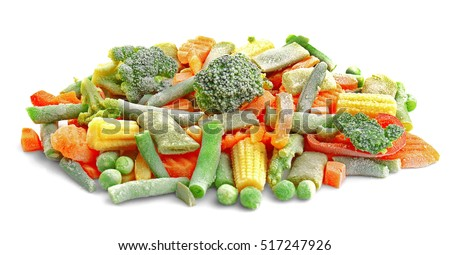 Frozen vegetables isolated on white #517247926