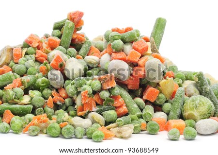 frozen vegetables mix on a white background
