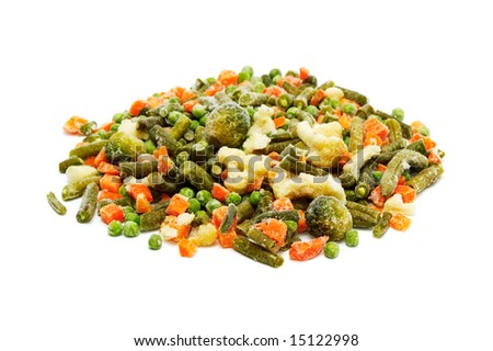 frozen vegetables on a white background