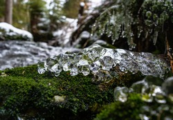 Frozen water close up. Ice waterfall. Transparent ice. Frozen grass, moss and granite stones. Textural ice formations. Poland. Sweraduw-Zdruj.