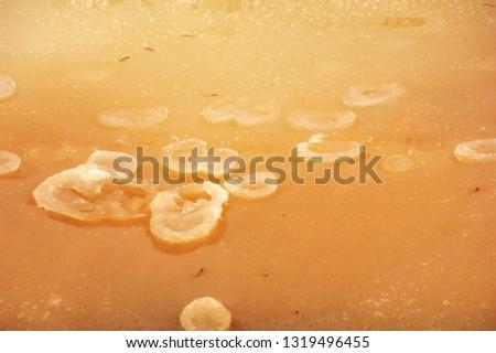 Frozen water in a dirty, rusty river. #1319496455