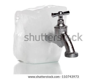 frozen water-tap on ice rock