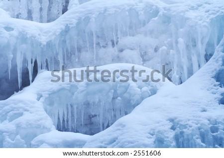 Frozen Waterfall from Altay Region, Western Siberia - stock photo