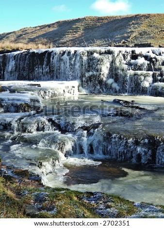 Frozen waterfall in the Yorkshire Dales