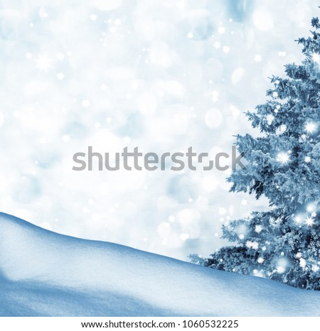 Frozen winter forest with snow covered trees. #1060532225