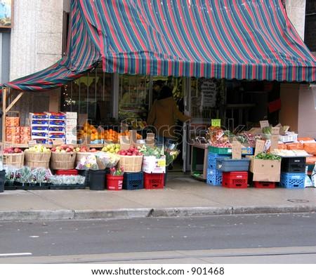 Fruit abd vegetable market on city street