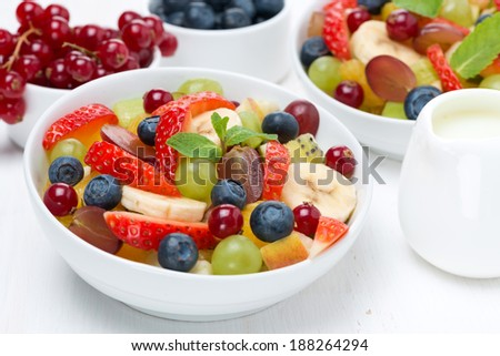 fruit and berry salad and jug of cream, horizontal