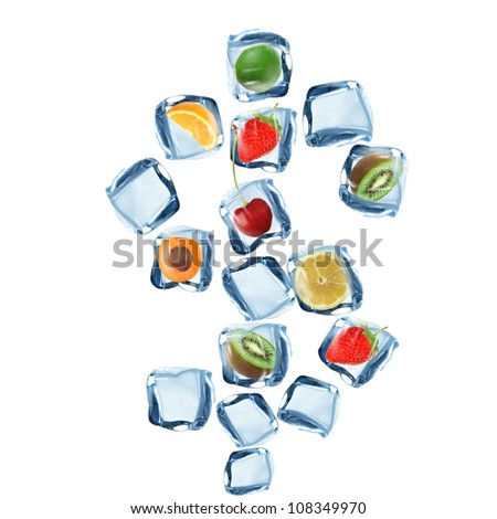 Fruit and ice cube Dollar symbol over white background