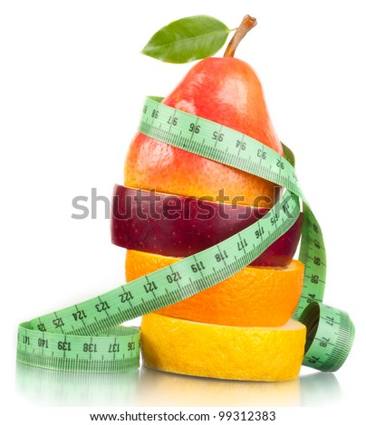 Fruit and measurement. A slender figure.