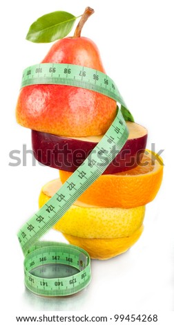 Fruit and measurement on a white background. A figure. A food.