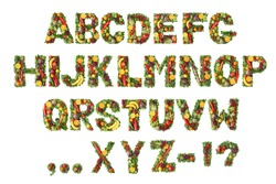 Fruit and vegetable alphabet colection