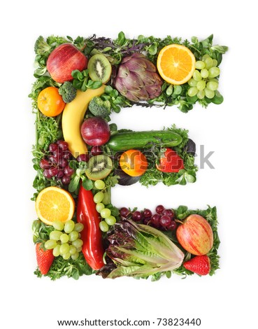 Fruit and vegetable alphabet - letter E - stock photo