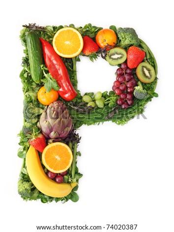 Fruit and vegetable alphabet - letter P