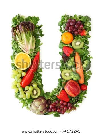 Fruit and vegetable alphabet - letter U