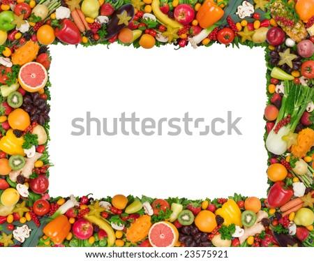 fruits and vegetables border. Fruit and vegetable frame