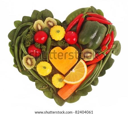 Fruit and Vegetable heart shape