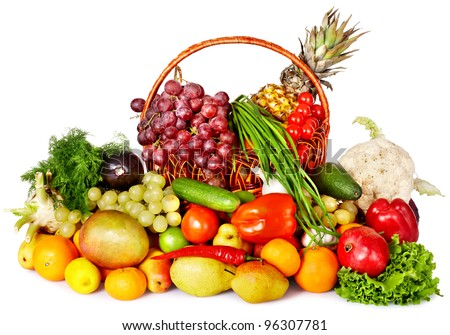Fruit and vegetable in basket. Isolated.