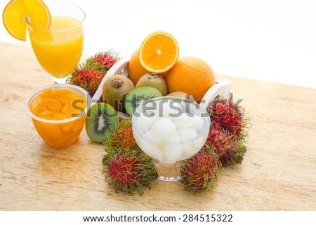 Fruit and vegetable juice, orange juice, kiwi juice, Rambutan