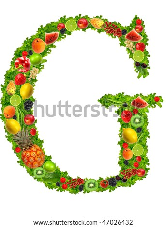 Fruit and vegetable letter G