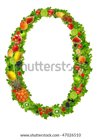 Fruit and vegetable letter O - stock photo