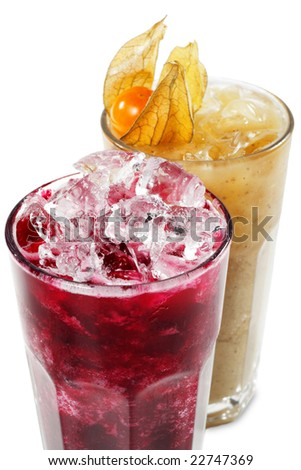 Fruit and Vegetable Smoothie Isolated on White Background