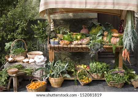 Fruit and vegetable stall at a medieval market