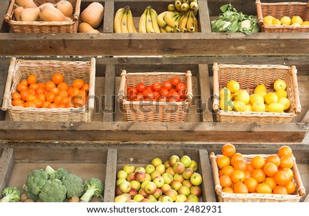 fruit and vegetables at farmers market