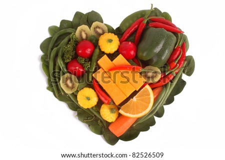 Fruit and Vegetables in a heart shape isolated