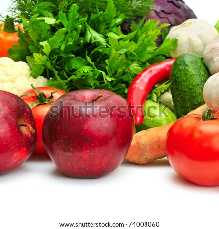 fruit and vegetables isolated on a white background