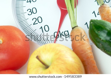 Fruit and vegetables on a Body Scales / healthy eating