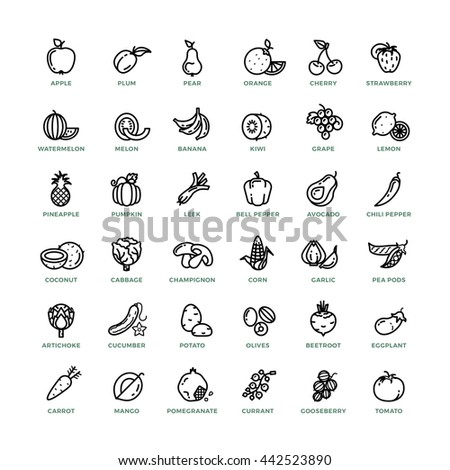 Fruit and vegetables outline icons