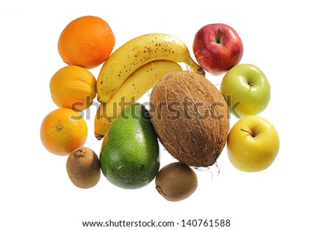 fruit assortment isolated on white with clipping path