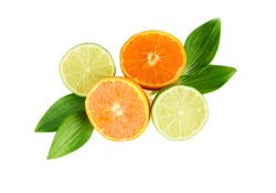 Fruit assortment of tangerine and lime with leaves isolated on white background