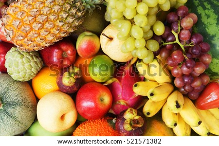 Shutterstock Fruit background, many fresh fruits mixed together