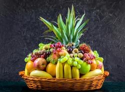 fruit basket. Fresh froots isolated on white black background. fresh fruits group.
