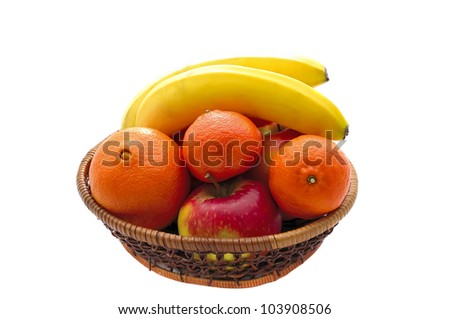 fruit basket with oranges, bananas and apples isolated on a white background