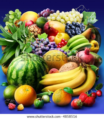 fruit & berries; Objects on blue background #4858516