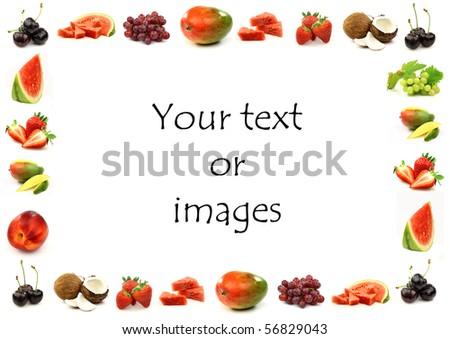 fruits and vegetables border. stock photo : fruit border