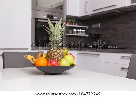 Fruit Bowl In A Kitchen Stock Photo 184779245 Shutterstock