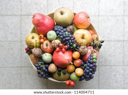 fruit bowl with handpicked organic fruits shot from above