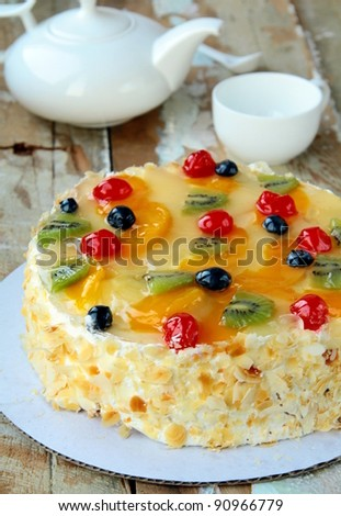 fruit cake with berries and  fruits