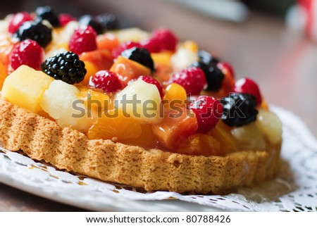 fruit cake with berries and other fruits