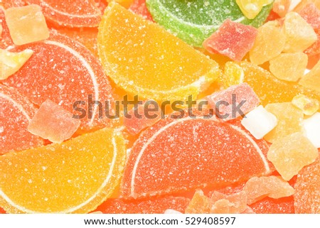 Fruit candy and colorful jujube. Close-up of assorted fruit jelly, colorful jujube and sweet candies. Colorful image great for backgrounds.