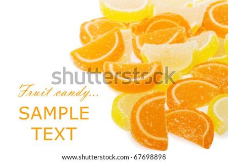 Fruit candy isolated on the white background - stock photo